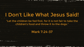 I DON'T LIKE WHAT JESUS SAID!