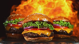 Super slow motion of tasty burgers with fire flames, 1000 fps