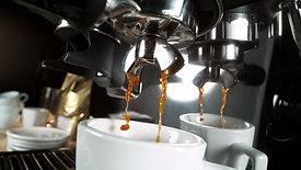 espresso coffee machine pouring
