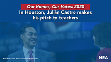 Julián Castro answer questions at National Education Association forum