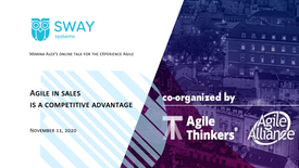 """November 11, 2020 """"Agile in sales  is a competitive advantage"""""""