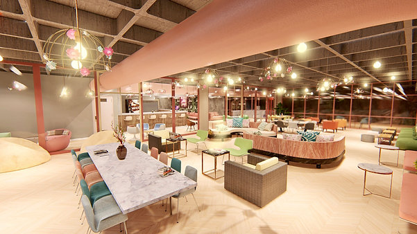 Coworking Space & Lounge Cafe Design Concept by Mtm 3D