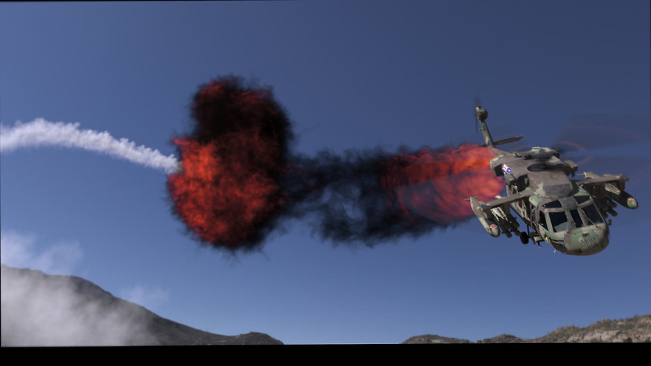 Black Hawk down under - Houdini Sparse Pyro and Substance Painter