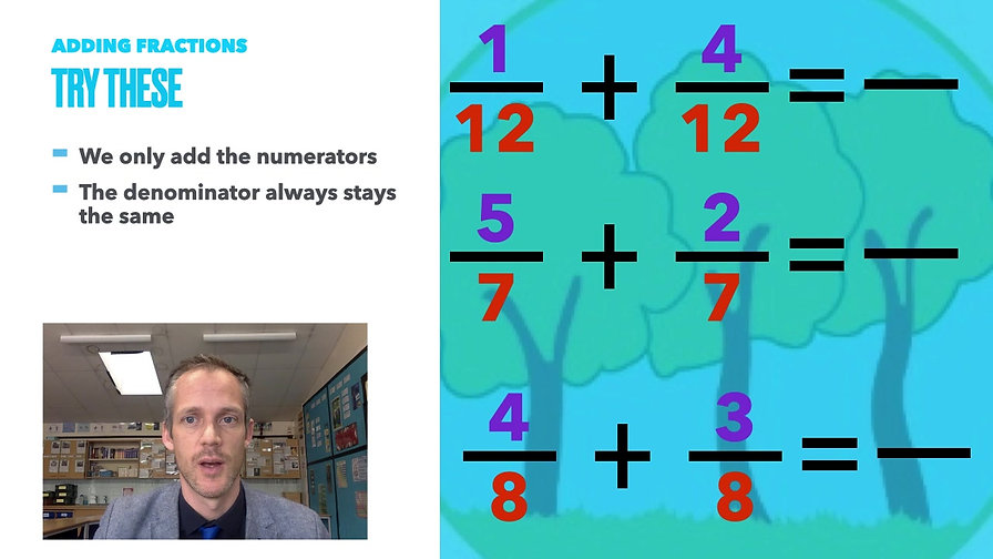 Year 3 Week Beginning 1st March - Adding and Subtracting Fractions