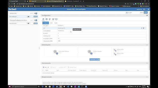 Demo - Go EaaS AWS EKS - Automatic Kubernetes Clusters Provisioning