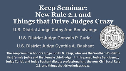 Keep Seminar: Professionalism, New Rule 2.1 and Things that Drive Judges Crazy