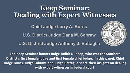 Keep Seminar: Dealing with Expert Witnesses