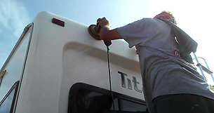 3step on 35'fifth-wheel Compound Swirl Removal and Wax to seal