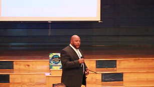 Antonio Stevenson, speaks to the students of Knox Middle School. (1)