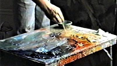 Peter Clossick 1990 studio film, Hammering out a Poem