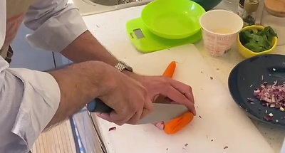 then cut the carrots and half a celery in the same way