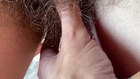 Hairy bush Fetish video closeup POV