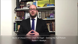 Burst of Chizuk #102 Cheit Ho'Eigel - Seeing the Full Picture. Rabbi Y. Roodyn