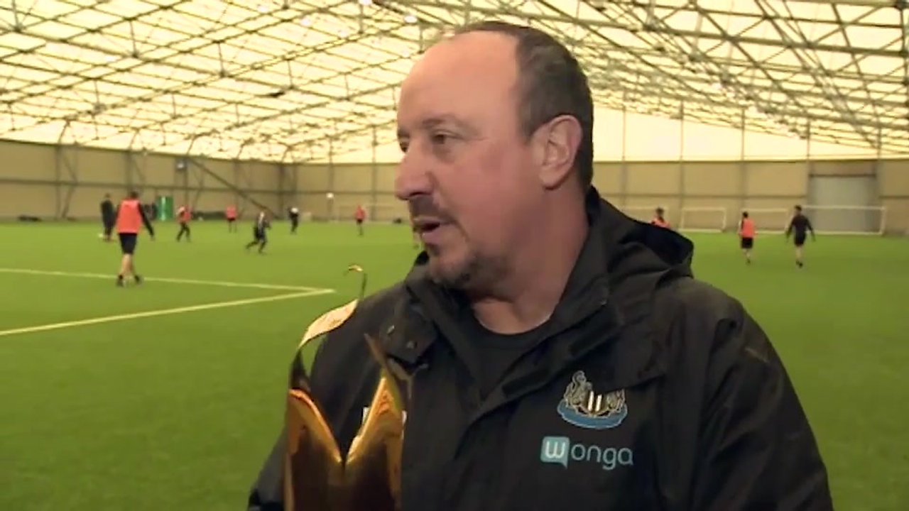 Rafa Benitez's acceptance speech as he collects first piece of silverware as Newcastle boss.