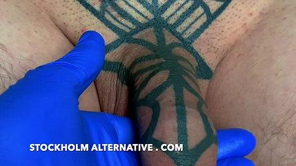 Closeup of a Fully Healed Tattooed Cock