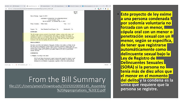 !!ALERTA DE ACCION SOBRE LA PROPUESTA DE LEY DEL SENADO SB 145!!!!