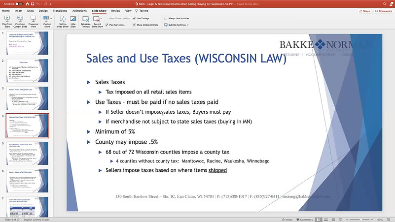 Legal and Tax Requirements when Selling and Buying on Facebook Live Webinar