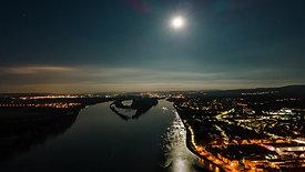 Rhein bei Nacht und Vollmond