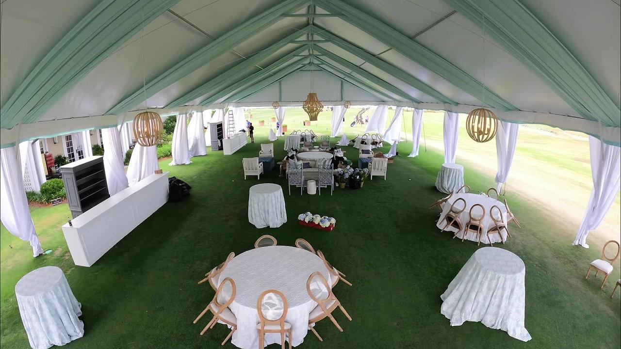 Driving Range Wedding Setup