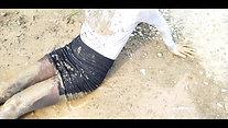 Muddy Turtleneck and skirt