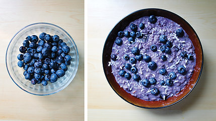 Creamy Blueberry Oatmeal Porridge with Coconut