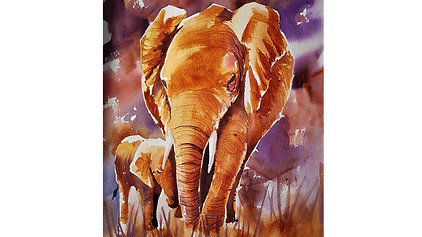 Mother and Baby Elephant in watercolour