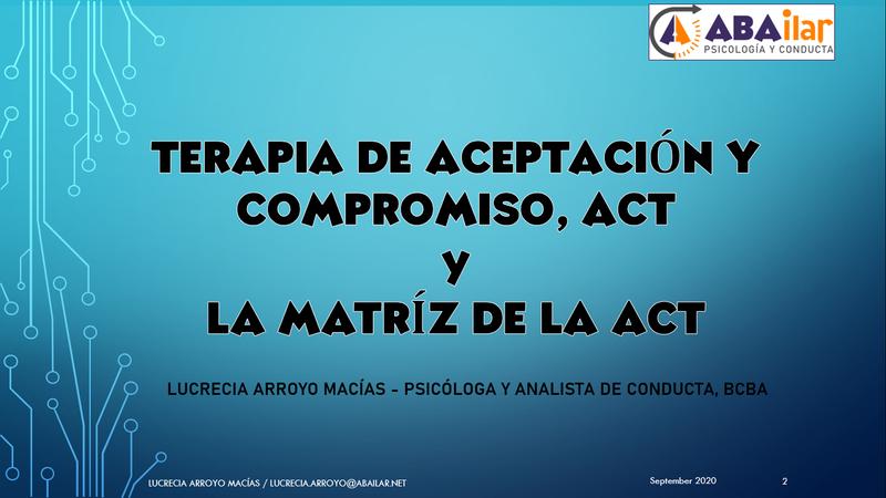 Terapia de Aceptación y Compromiso, ACT