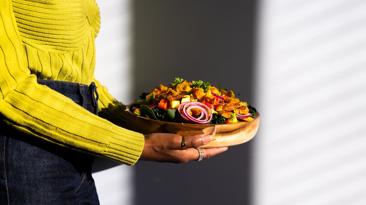 Plantain Salad w/ Mango Avo Salsa