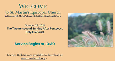 In-Person and Livestream Broadcast of Holy Eucharistic Service for the 22nd Sunday after Pentecost