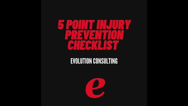 5 Point Injury Prevention Checklist