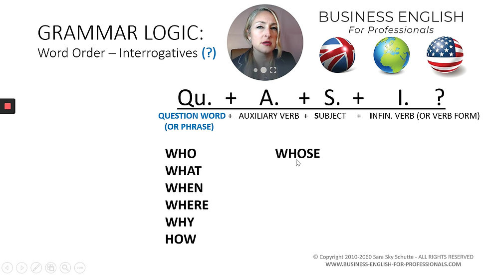 #10 GRAMMAR LOGIC Introduction - BUSINESS ENGLISH for Professionals with Sara Sky Schutte