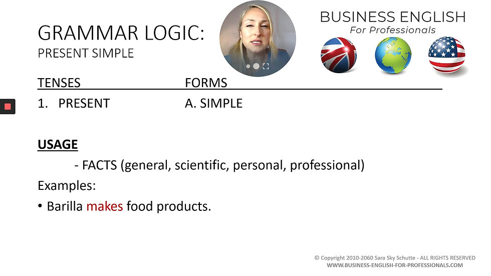 #12 GRAMMAR LOGIC Present Simple - Business English for Professionals with Sara Sky Schutte