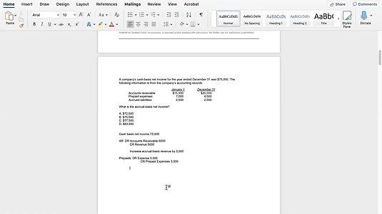 CPA Exam Cash to Accrual Tutorial