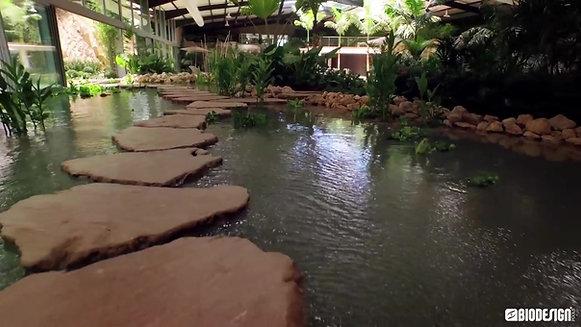 Una piscina Rocks Design dentro un giardino tropicale
