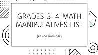 Grades 3-4 Math Manipulatives List