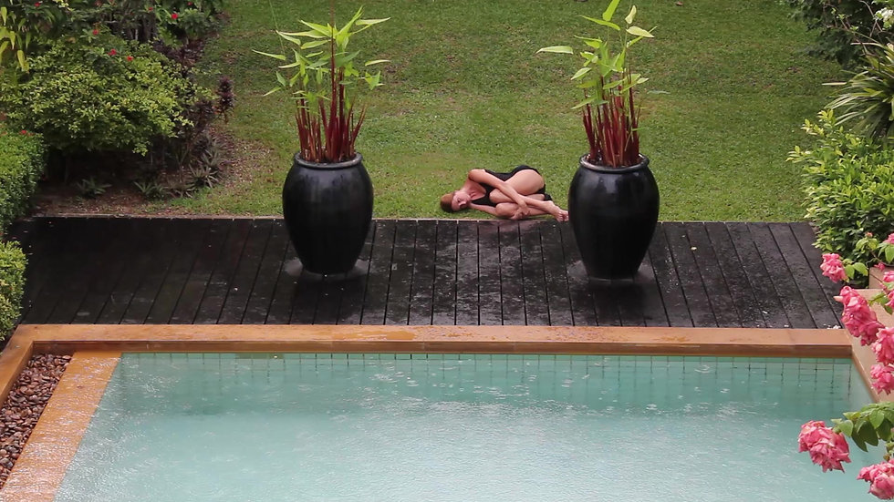 Figure and a pool