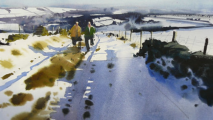 Snow scenes in watercolour