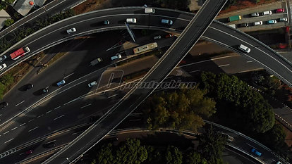 Aerial Top-Down View of Traffic in an Urban City